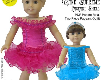 Pixie Faire Genniewren Designs Grand Supreme Pageant Shell Doll Clothes Pattern for 18 inch American Girl Dolls - PDF