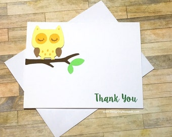 Yellow Gender Neutral Owl Baby Shower Thank You Note Card Set - Owl Thank You Cards - Baby Shower Birthday Thank You Cards - Kids Cards