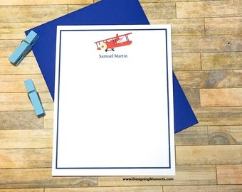 Personalized Biplane Flat Cards - Airplane Stationery - Red Biplane Plane Flat Custom Flat Cards - Personalized Stationery Set