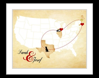 A Custom usa map christmas gift for couples, long distance relationships, housewarming gift, personalized map art, moving away gift, map art