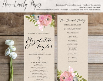 Printable Wedding Program - the Rory Collection