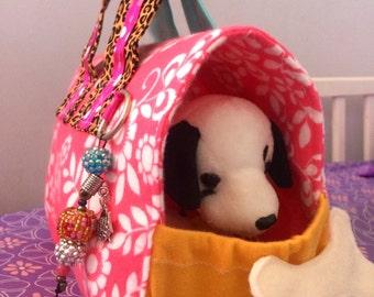 Special pet carrier. Girls gift. Stuffed pet carrier. Handmade gift. Handmade toy