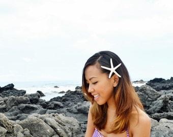 2.5 to 3.5 Inches White Starfish Mermaid Hair Clip -  Wedding Hair. Destination Beach Wedding. Starfish Mermaid Hair Accessory