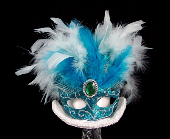 Mardi Gras Carnival White and Teal Mask Large Mini Top Hat Fascinator, Alice in Wonderland, Mad Hatter Tea Party, Derby Hat