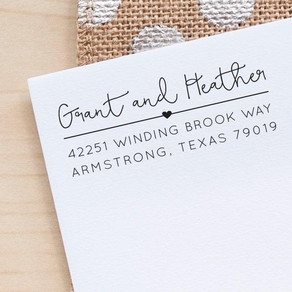 Custom Address Stamp Return Address Stamp Personalized Address Stamp Calligraphy Address Stamp Heart Address Stamp Eco Friendly Rubber Stamp