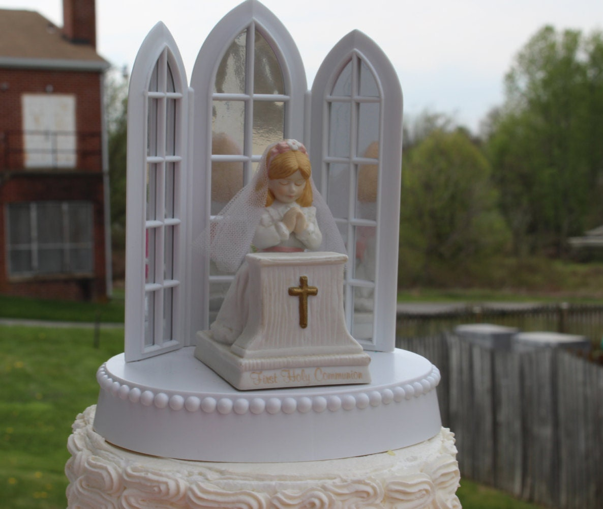 First holy communion girl cake topper - Holy communion cake decorations ...