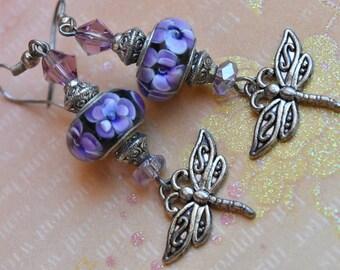 Dragonfly earrings. Dragonfly Lampwork earrings. Dragonfly with crystals earrings. Art deco dragonfly earrings. Celtic earrings.