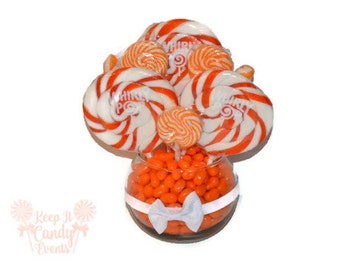 Small Orange Lollipop Centerpiece, Fall Wedding Centerpiece, Orange Centerpiece, Candy Buffet Decoration, Candy Table Decor, Candy Bar