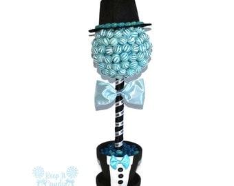 Lollipop Groom Topiary, Candy Groom Topiary, Lollipop Wedding Centerpiece, Bridal Shower Decor, Wedding Candy Buffet Centerpiece, Groom