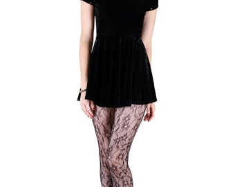 Black Velvet Skater Wednesday Addams Inspired Mini Dress
