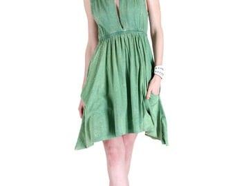 Grecian Goddess Pocket Dress - Vintage Green