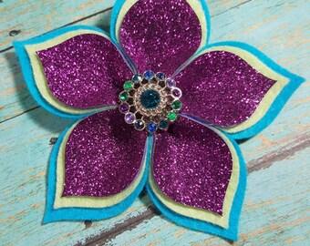 Flower Hair Clip - Girls Felt Flower Clip - Layered Felt Flower Clip - Flower Clip - Felt Flower - Glitter Flower Hair Clip - Ready to Ship
