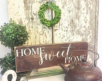 Home Sweet Home Painted Wood Sign - Wood sign - Home Decor Sign - Distressed Rustic Antiqued sign Decor - Wall Decor - Room Decor