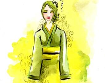 Jade Dreams Art Print, Wall Art, Wall Hanging, Illustration Art