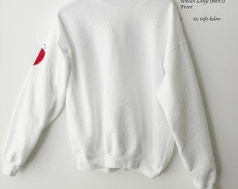 Heart Sweatshirt, Red Heart on my Sleeve sweatshirt, Crewneck sweatshirt, White, Graphic, Love, Valentines Gift, heart, red sweatshirt