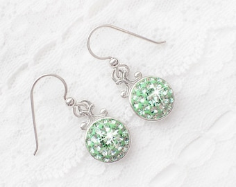 Mint Green Swarovski Crystal Dangle Earrings, Chrysolite Light Green Earrings, Sterling Silver Dangle Earrings, Bridal Bridesmaid Earrings