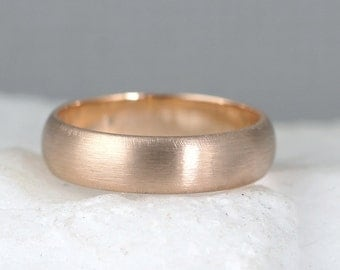 5mm 14K Rose Gold Wedding Band – Men's or Ladies Wedding Rings – Matte Finish – Pink Gold – Commitment Rings – Classic Rounded Bands