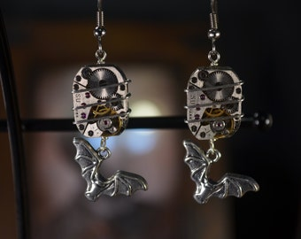 Vintage Watch Movement earrings with Bat charms