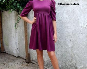 Empire waist dress, empire line dress, aubergine dress, puff sleeves dress, womens dresses, womens clothing