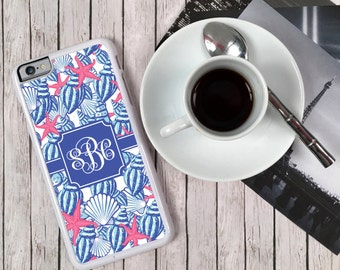 iPhone 7 Case Nautical Monogrammed Personalized iPhone 6s+ 6 5 5c 5s S6 Edge Samsung S6 S5 Tough Plastic Custom She Shells Lilly Inspired