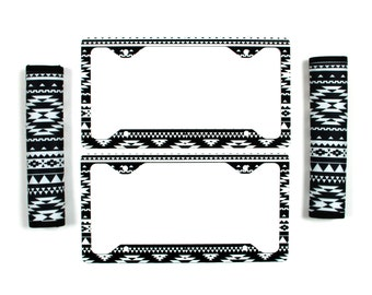 Black And White Aztec License Plate Frame & Seat Belt Cover Set Aztec Tribal Monogrammed Gifts Personalized Custom Cute Car Accessories