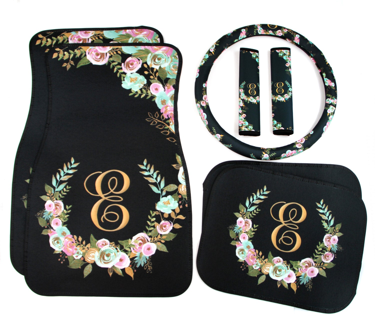 Monogrammed Floor Mats >> Mint and Gold Floral Monogrammed Car Mats Classy Black ...
