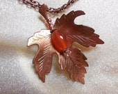 Fall Color Tour Maple Leaf Necklace Autumn Vintage Copper Carnelian Pendant October November Birthday Thanksgiving Gift Upcycle Repurposed