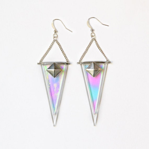 shark earrings sterling silver 925 long triangle dangle by 416am. Black Bedroom Furniture Sets. Home Design Ideas