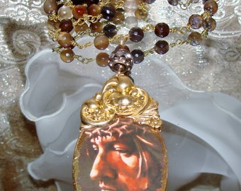 Jesus Crown of Thorns artisan pendant rosary chain necklace