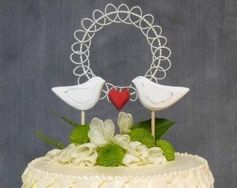 Rustic Wedding Topper, Love Birds Cake Topper, Wedding Cake Pic, White Wedding Keepsake, Bridal Topper
