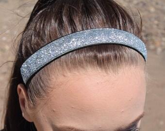 Silver Glitter Headband Adult - Sports Headbands for Women - Womens Headbands - Team Headbands - Silver Headband Sports Gift for Women