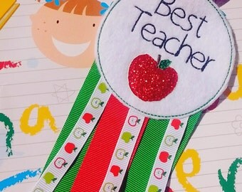 Best teacher rosette teachers gift