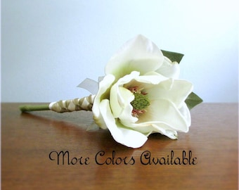 """Single Stem Silk Magnolia Flower Bouquet, Choice of Color, Ivory, Tan, Red, Bridal, Bridesmaid Bouquets, Custom Wedding Package, """"Charm"""""""