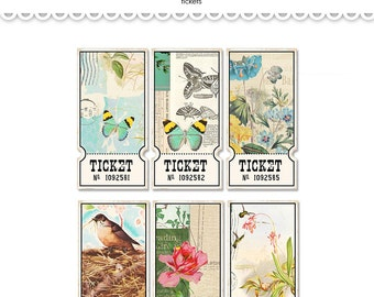 Digital nature-inspired tickets /  vintage collage sheet / 6 designs, 3 sizes / downloadable, printable / clipart / butterflies, birds