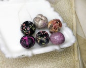 SALE Polymer Clay Beads - 6 Rustic Chunky Beads - Nuggety ROunds, Floral Pod - Black w Millefiori, Lavender Grey, Pink - Hand Sculpted Focal