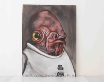 "Star Wars Admiral Ackbar Art Painting Acrylics On Flat Canvas 9"" x 12"""