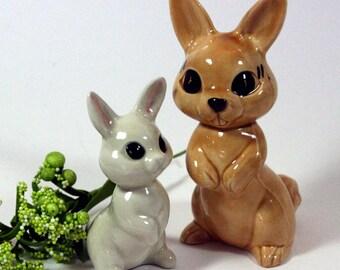 Pair of cute bunny rabbit figurines-glossy ceramic-woodland-spring