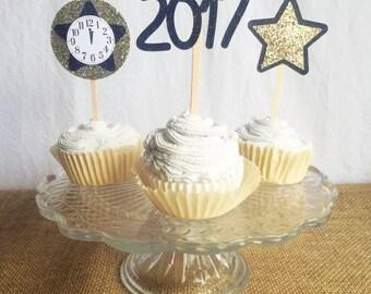 NYE cupcake - New Years cupcake - New Years eve cake - nye decor - nye party - New Years topper - New Years eve topper - hello 2018 topper