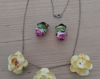 Vintage China flower necklace and earrings