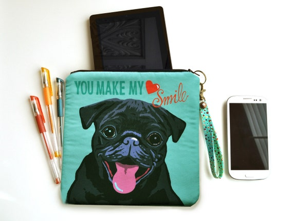 Pug Art Padded Pouch/ Clutch -You Make My Heart Smile