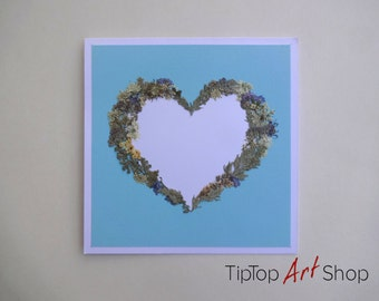 Heart Greeting Card with Pressed Dried Flowers for Valentine's Day, Wedding Anniversary etc.; Personalized