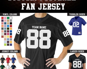 CUSTOM Football Team Name and Number Jersey with custom back and sleeve numbers.
