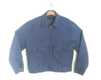 Vintage 80s Work Jacket Mechanic's Topps Utility Outerwear Men's Large
