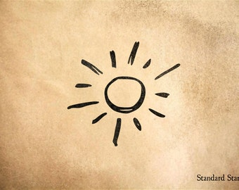 Sun Drawing Rubber Stamp - 2 x 2 inches