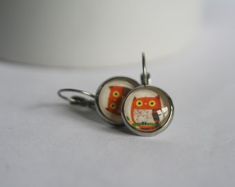 CLEARANCE 12mm 1/2 inch Stainless Steel Glass Cabochon Lever Back Dangle Owl Earrings