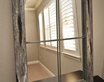 Rustic Mirror Distressed Faux Window - Greywash