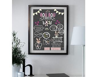 Digital Rabbit Chalk Board Poster