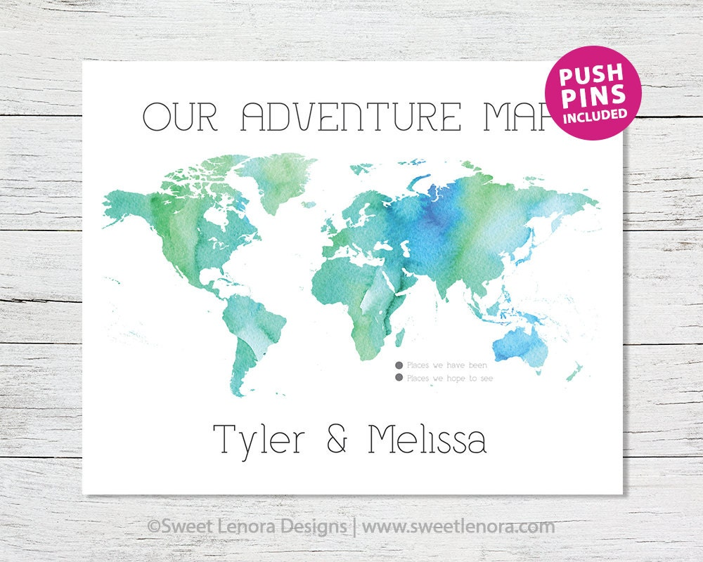 Push Pin Our Adventure World Map Watercolor by SweetLenoraDesigns