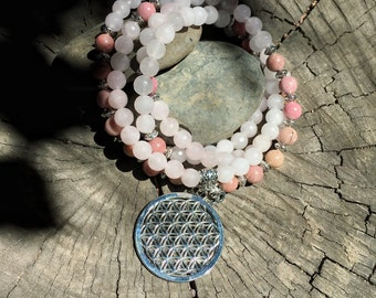 Rose Quartz & Rhodonite Flower of Life Mala Beads   108 Mala Beads for Heart Chakra   Meditation Yoga Prayer Beads , Mayan Rose MayanRose