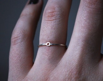 Tiny gold circle ring, little circle, silver and gold, 14k gold and silver, minimal, minimalist circle ring, geometric, geometrical ring
